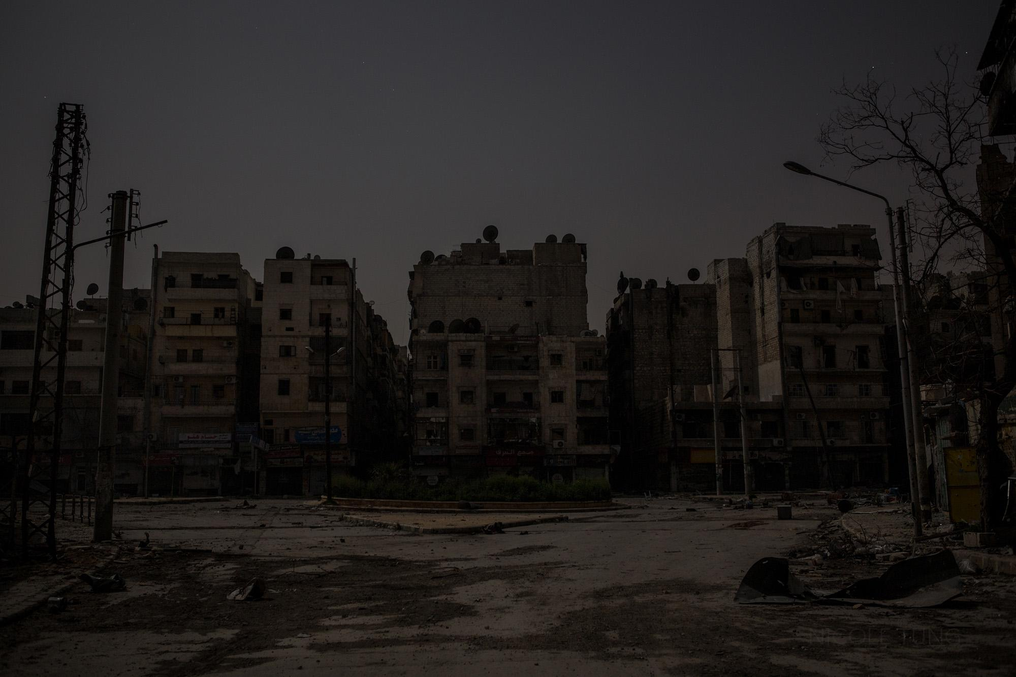 A view of a destroyed section of the Salaheddin neighborhood of Aleppo, Syria. March 2013.