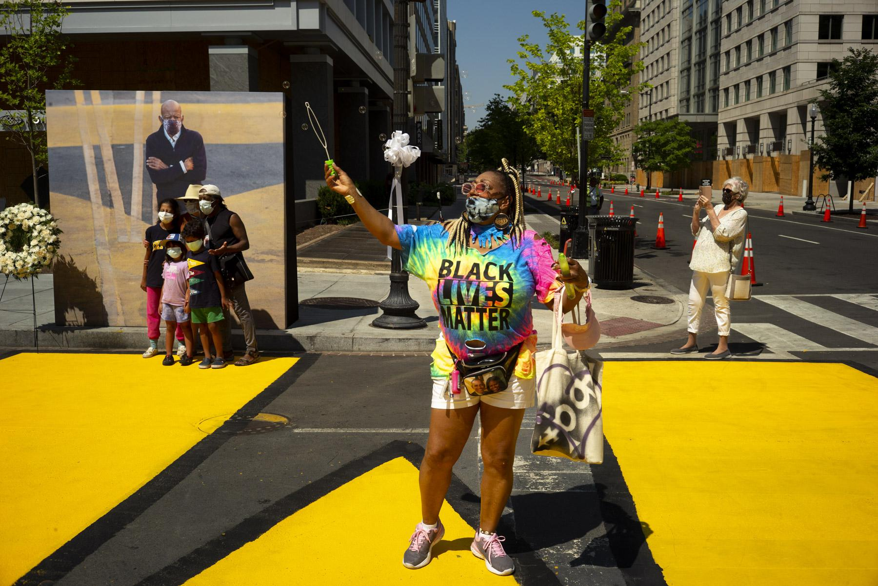 Janet Purnell came down from Philadelphia to be part of the funeral celebration of John Lewis at Black Lives Matter Plaza in Washington D.C.