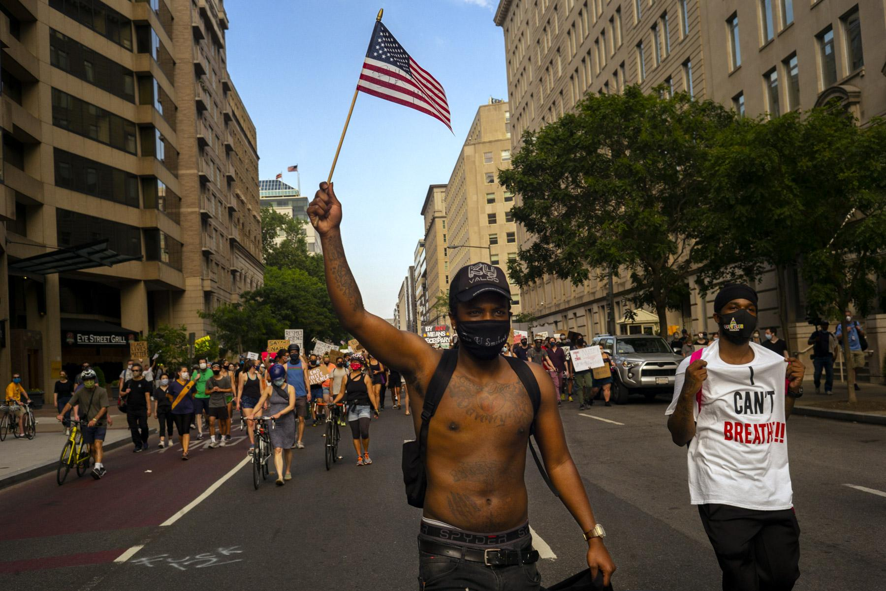 Protesters go from Farragut Square to BLM Plaza.