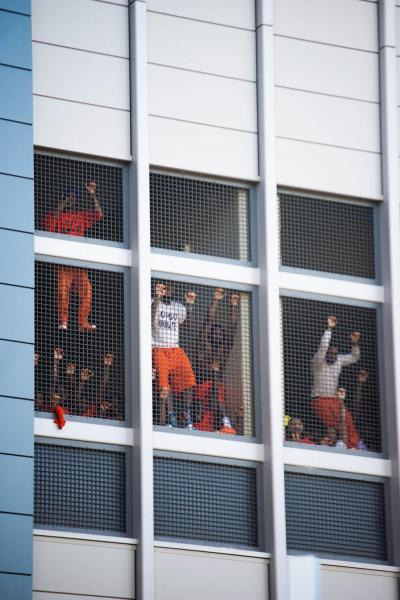 New Orleans, Louisiana, USA  Prisoners cheer to the crowd outside of the Orleans Parish Criminal District Court in New Orleans Louisiana. The protests was in due to the voting of Amendment 2. Amendment 2 required the unanimous agreement of jurors to convict people charged with felonies. As of 2018, Louisiana required the agreement of 10 of 12, or 83 percent, jurors to convict people charged with felonies. As of 2018, Louisiana was one of two states—the other being Oregon—that did not require the unanimous agreement of jurors to convict people charged with felonies.