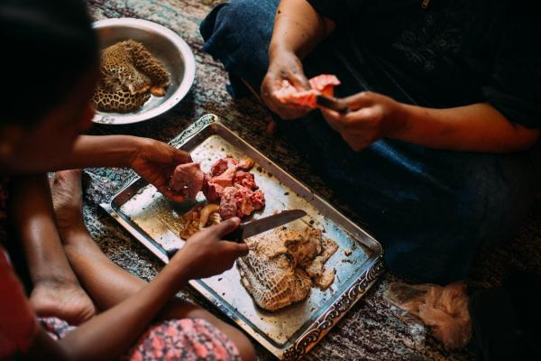 Aswan, Egypt  A Nubian family cooks camel for dinner in their home in Aswan, Egypt.