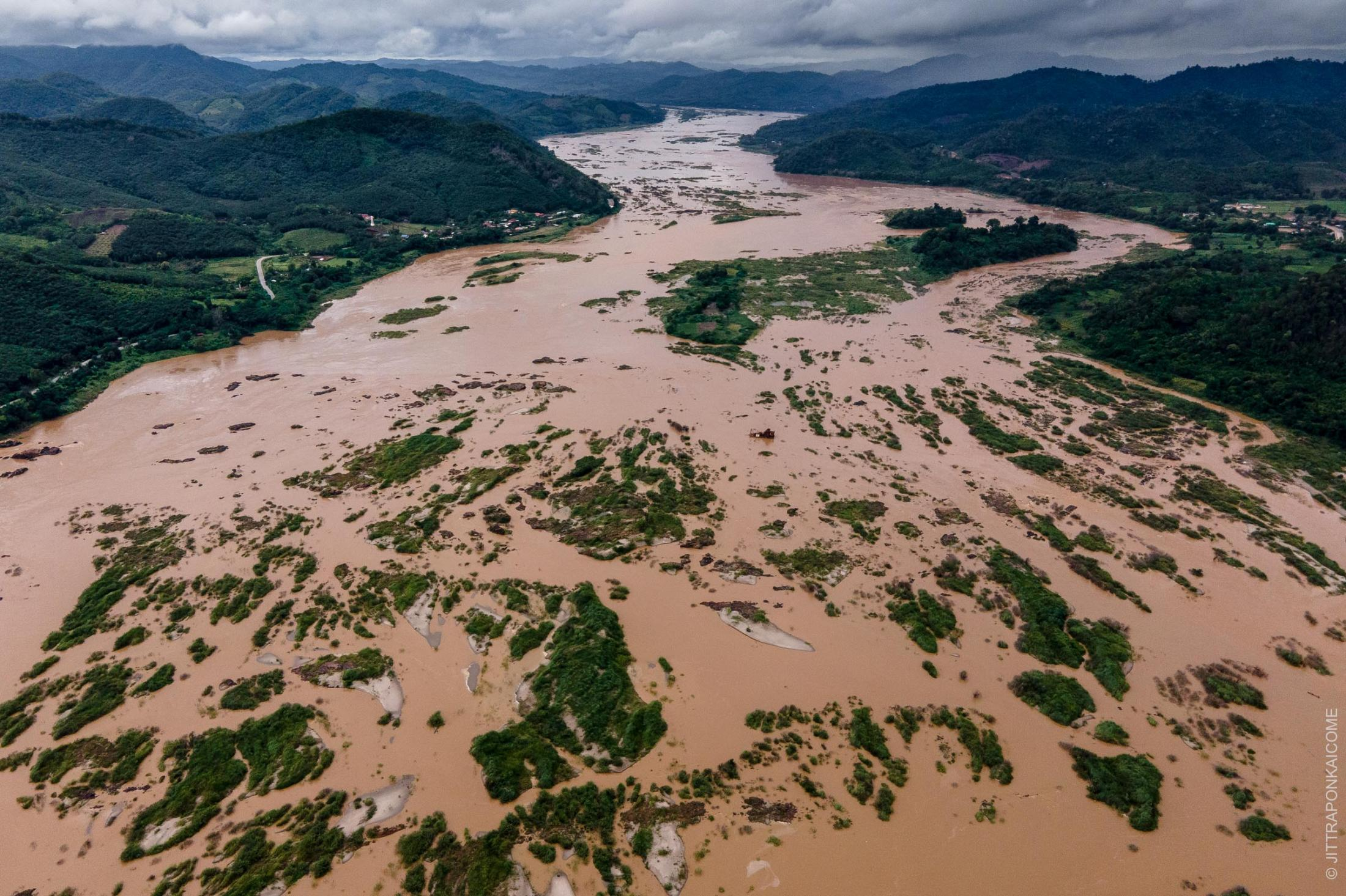 Even during the rainy season, the water level of the Mekong River is lower than average. In the river, rocks and small islands appear, which are usually covered by water at this time of the year resulted from upstream dams in China and Laos - In Nong Khai, Thailand – August 2020.