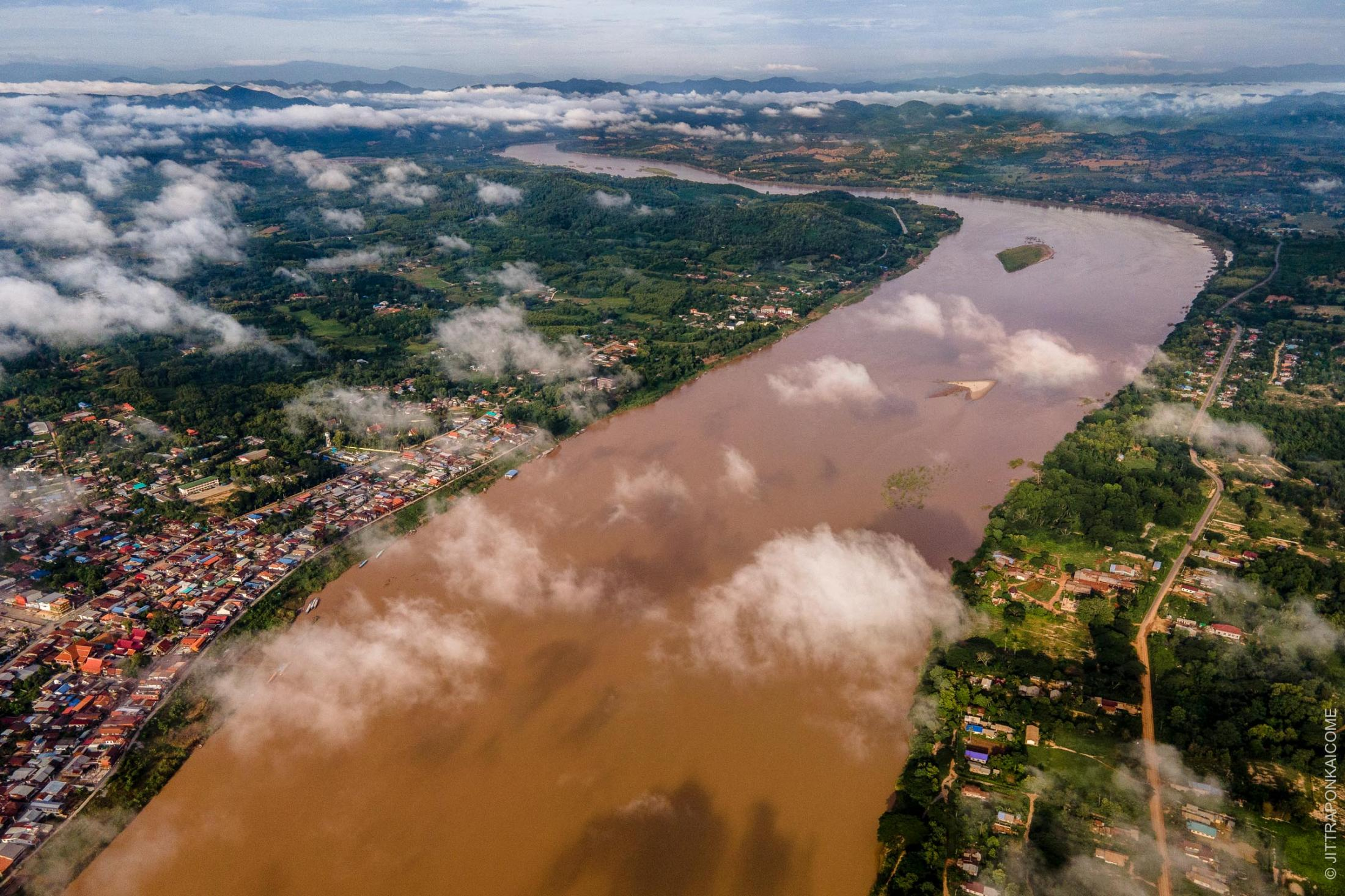 The water level in the rainy season is lower than usual, as it controlled by several upstream dams. If the Samakham Dam is built on the Mekong River, the ecology of the Chiang Khan riverine area will be strongly affected, as well as the livelihood of many people living downstream. In Loei, Thailand – August 2020.