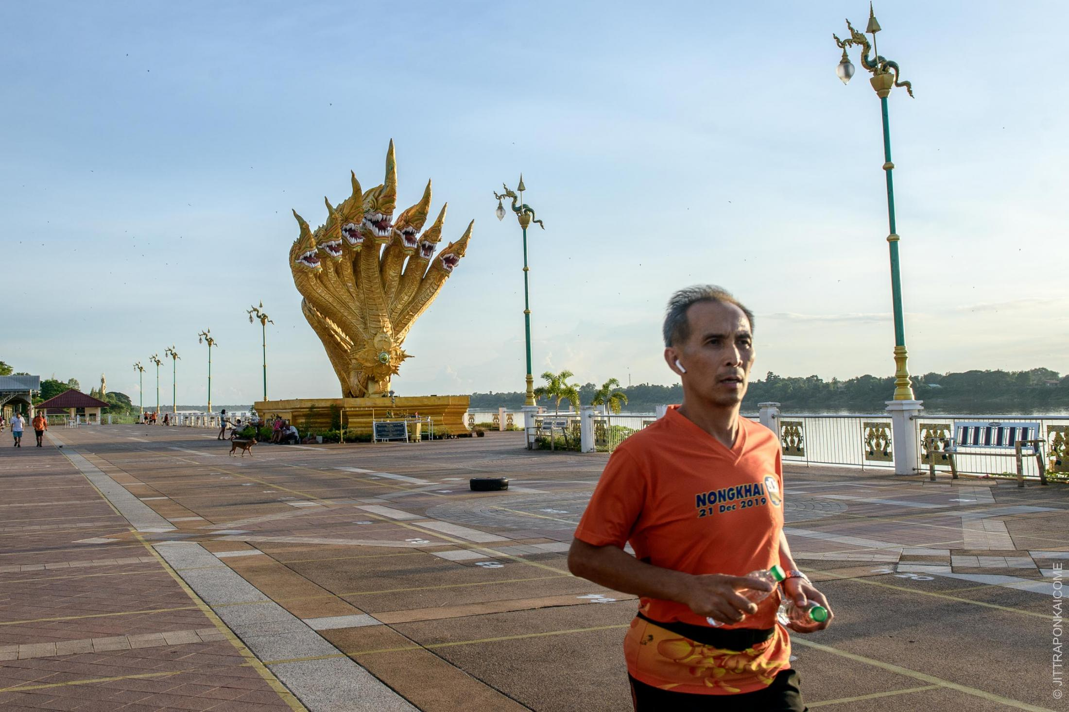People's daily lives and activities are closely linked to the Mekong River. Nowadays, in the rainy season, the water level is lower than usual. Phon Phisai, Nong Khai, Thailand – August 2020.