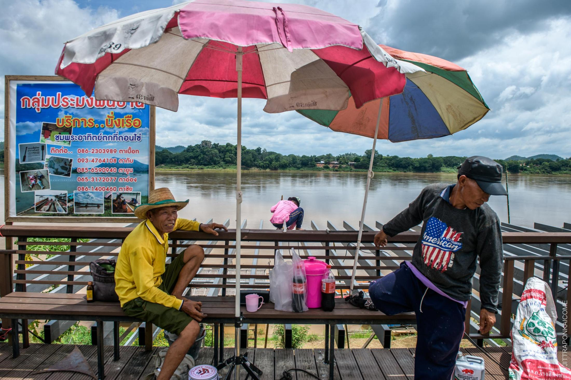 Fishermen are building a public viewpoint space on the Mekong riverbank to accommodate tourists. In Loei, Thailand – August 2020.