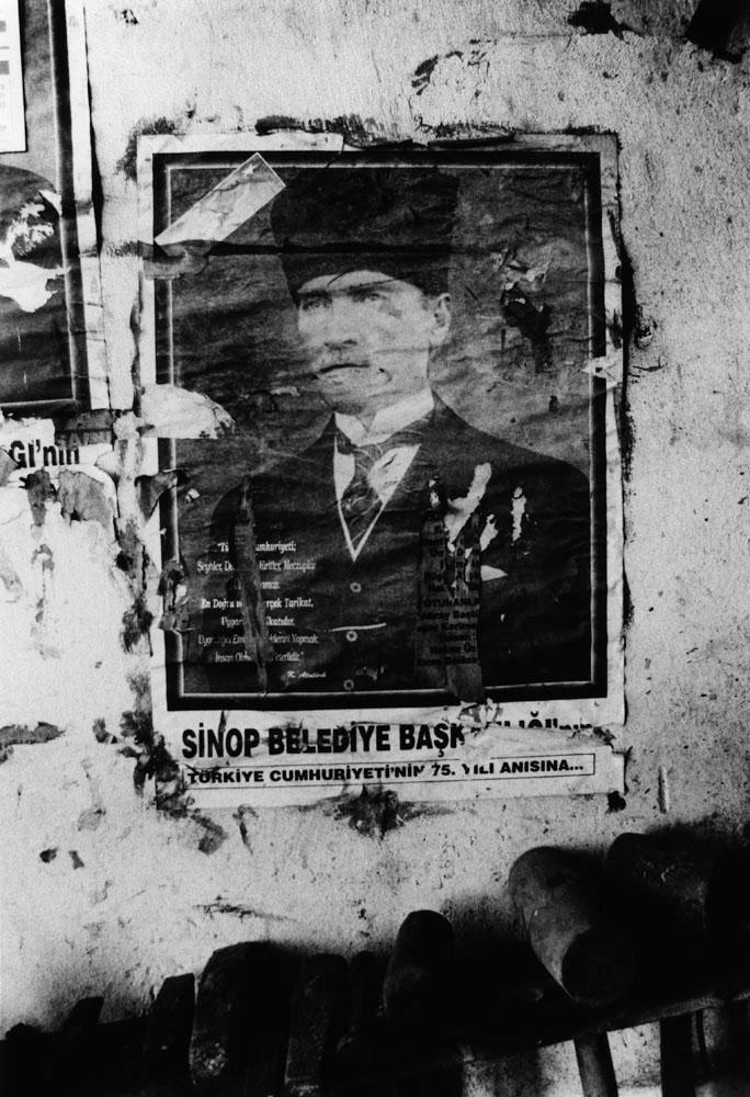 A portrait of Mustafa Kemal Ataturk in a blacksmith's shop, Sinop