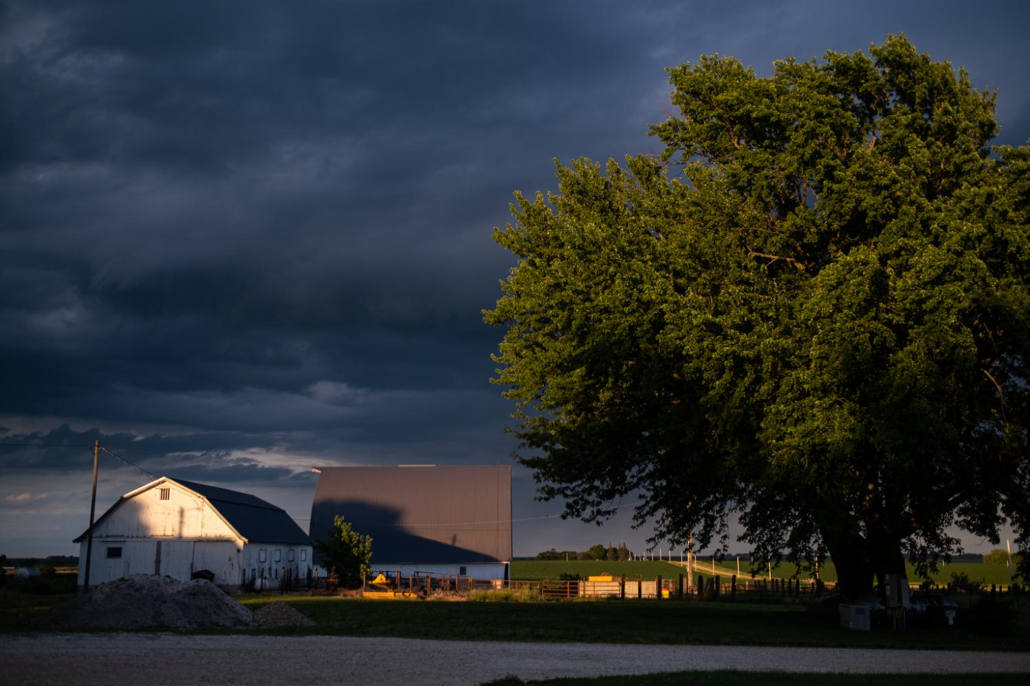 A small storm rolls through, rain in the summer really helps the crops grow.