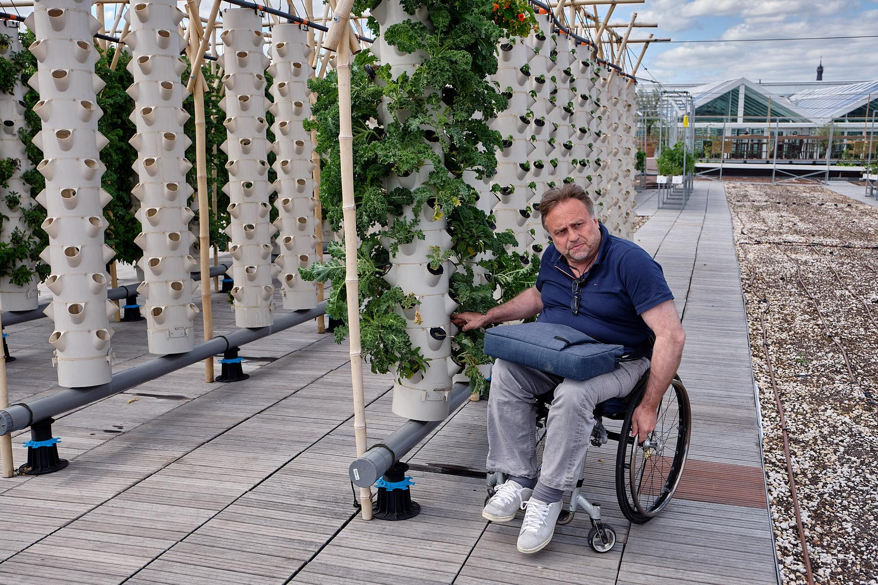 """Pascal Hardy, president of Agripolis, an agricultural consultancy firm on the roof where he created the project """"Nature Urbaine"""" and what will be the world's largest urban roof farm."""