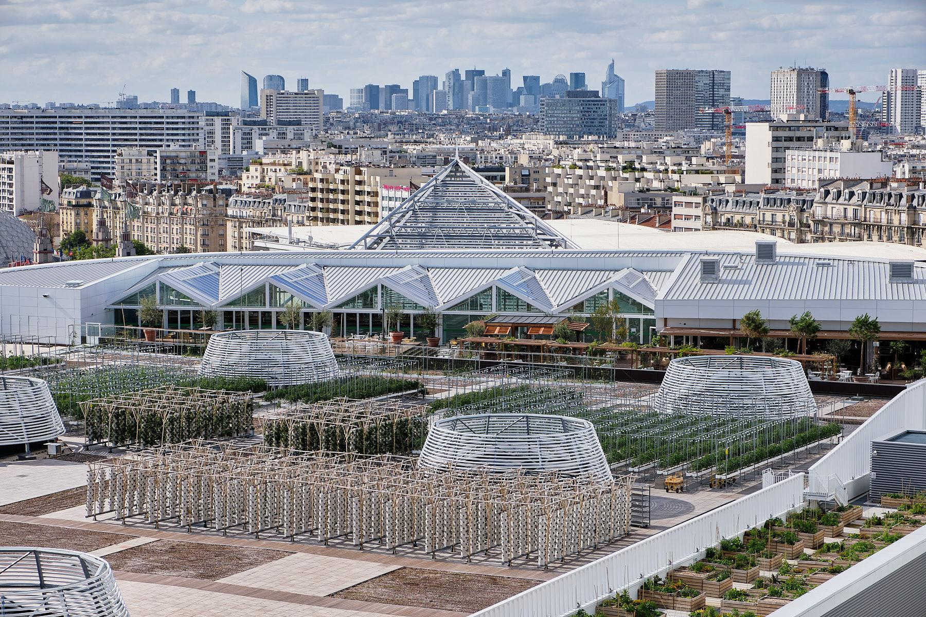 View of the urban farm from the Mama shelter hotel with the business area of La Defense in the background.