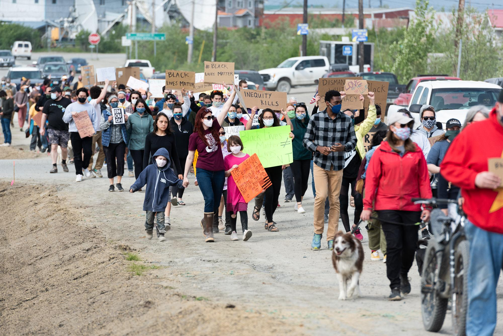 Protesters gathered at the Yupiit Piciryarait Cultural Center in the wake of the murder of George Floyd in Bethel, Alaska on June 2, 2020.