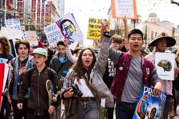 Scenes from the March for Our Lives rally on Saturday, March 24, 2018, in San Francisco, CA. Thousands of demonstrators march to demand action on gun control and to honor the 17 students and faculty members killed February 14 at Marjory Stoneman Douglas High School in Parkland, Florida.