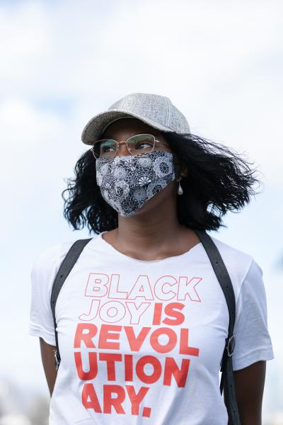 Sophie Taylor attends the Women in Solidarity for Justice and Equality protest to hear the speeches from youth activists and leaders at Mission Dolores Park on Friday, June 12, 2020, in San Francisco, Calif.
