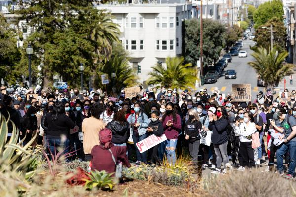 People attend the Women in Solidarity for Justice and Equality protest at Mission Dolores Park on Friday, June 12, 2020, in San Francisco, Calif.