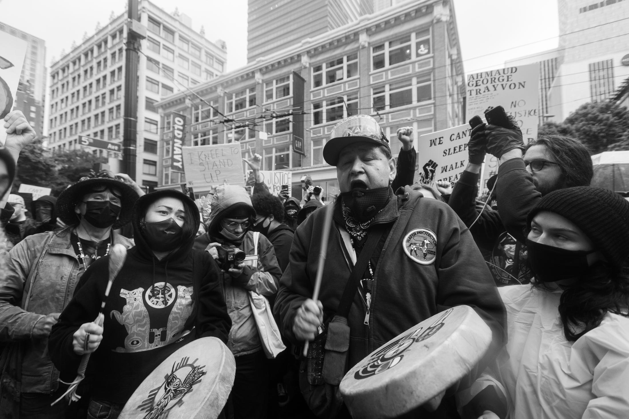 Pacific Northwest First Nation members protesting in the downtown area of Seattle, Washington.