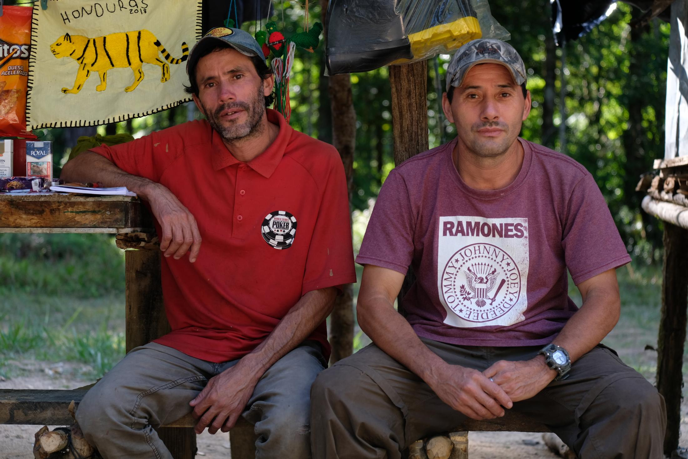 Brothers Reynaldo and Chito. They were one of many Hondurans hopeful of selling their products that ranged from Doritos bags, Cigarettes, rubber boots, to Organic Coffee. If you asked for a product, they would bring it to you within two days. I enjoyed talking to them about their life outside the camp. They both tried to cross to Mexico and the US, however, were caught by migration officers and sent back to Honduras. Both are coffee farmers, but they depend on earnings from the seasonal summer arrivals of scientists to the research camp.