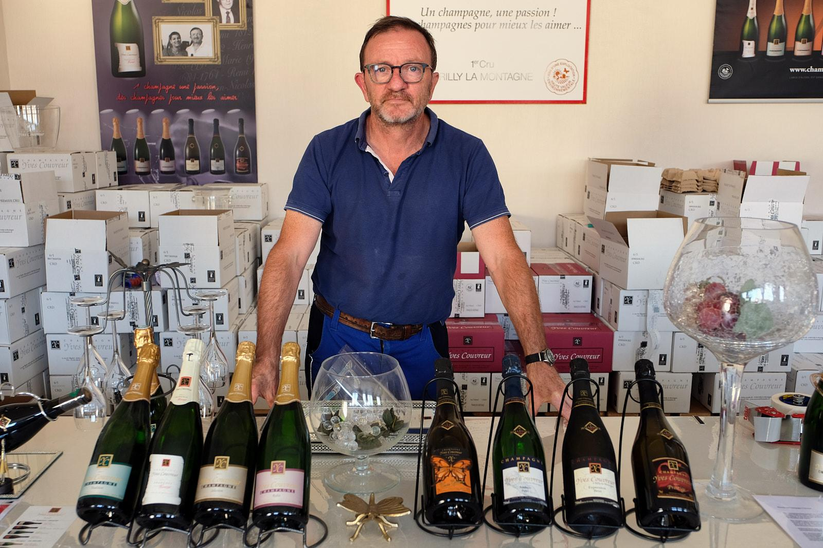 Yves Couvreur, 8th generation winemaker with a family history going  back to 1644 in his shop, annex production space, in Rilly la Montagne.