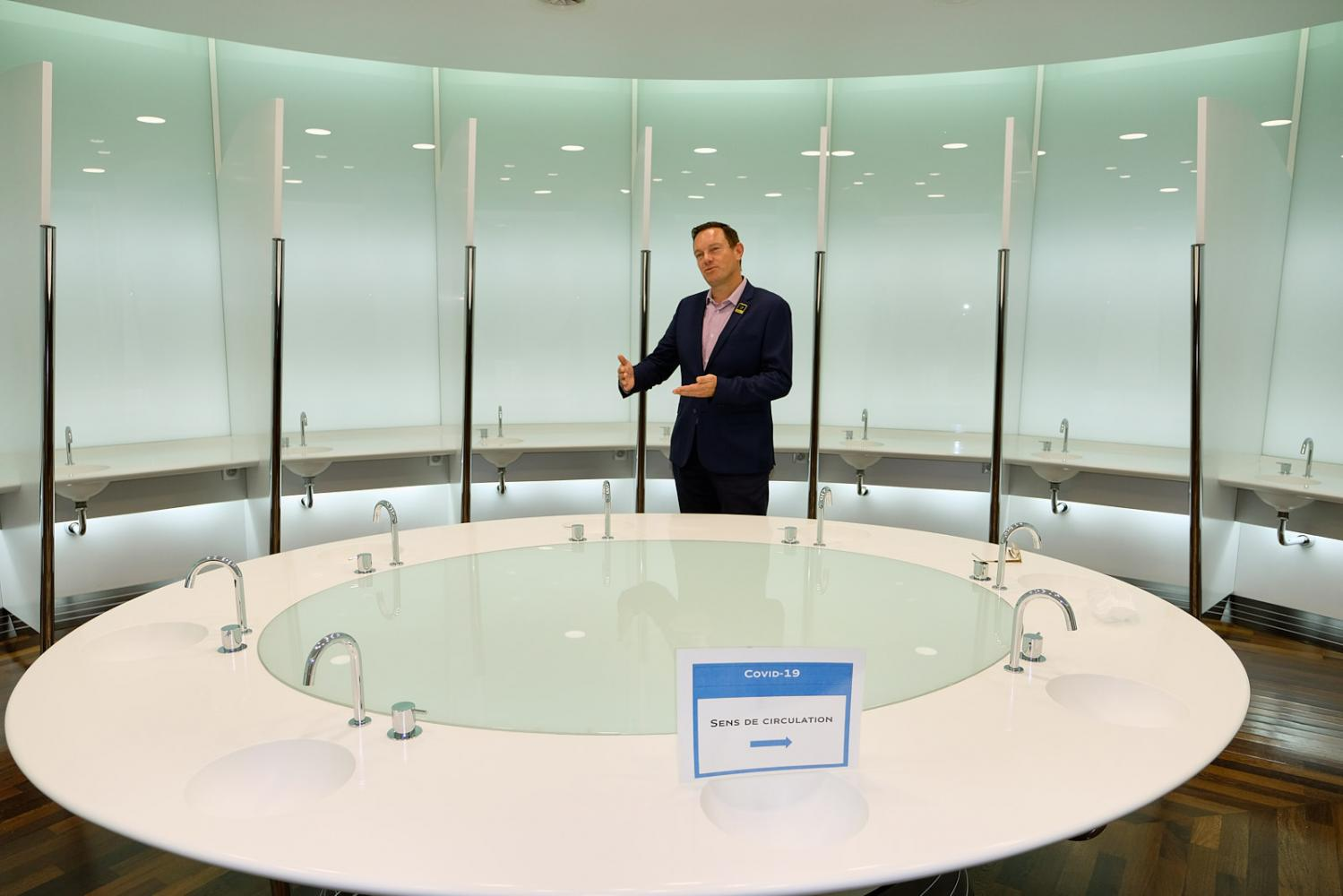 Thibaut le Mailloux, communication director of the 'Comité Interprofessionnel Du Vin De Champagne', stands in the testing room where champagne is evaluated and rated in the building of the organisation in Epernay.