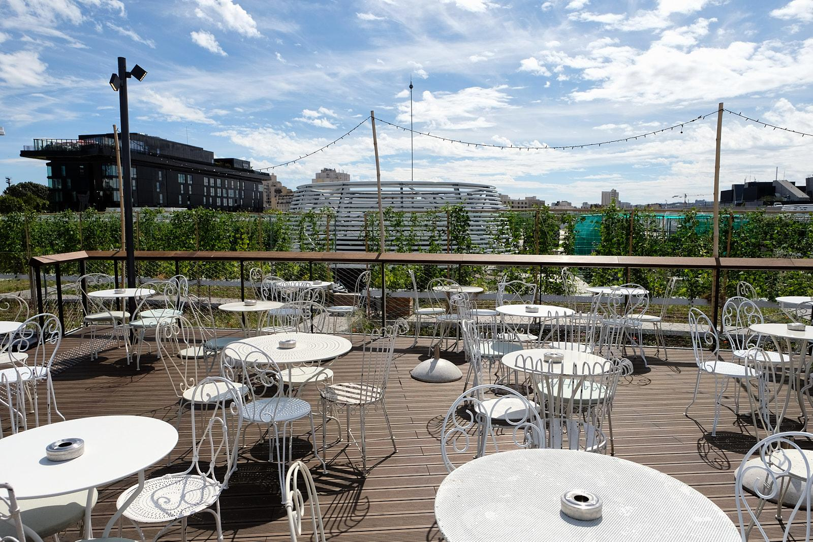 View of the roof farm from Le Perchoir, a restaurant that uses all the products that are grown only meters away.