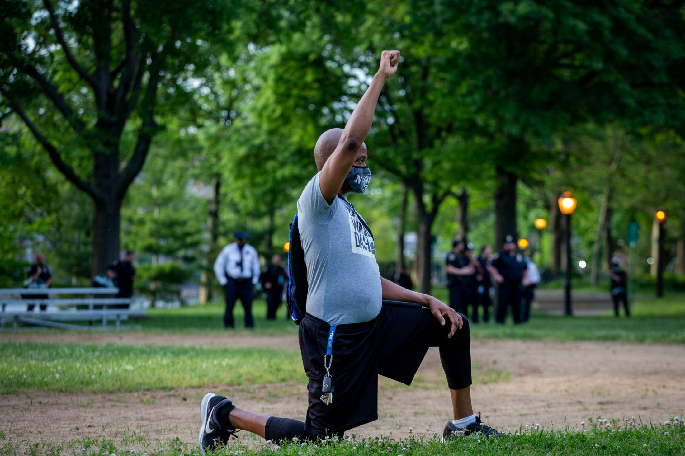 Hundreds took a knee during a moment of silence for George Floyd at Queensbridge Park on Tuesday, June 2020 in Long Island City, New York.