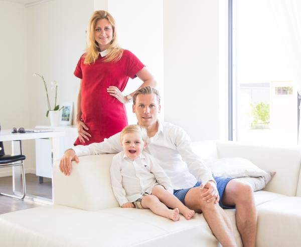 Portrait of famous Dutch soccer player and his family