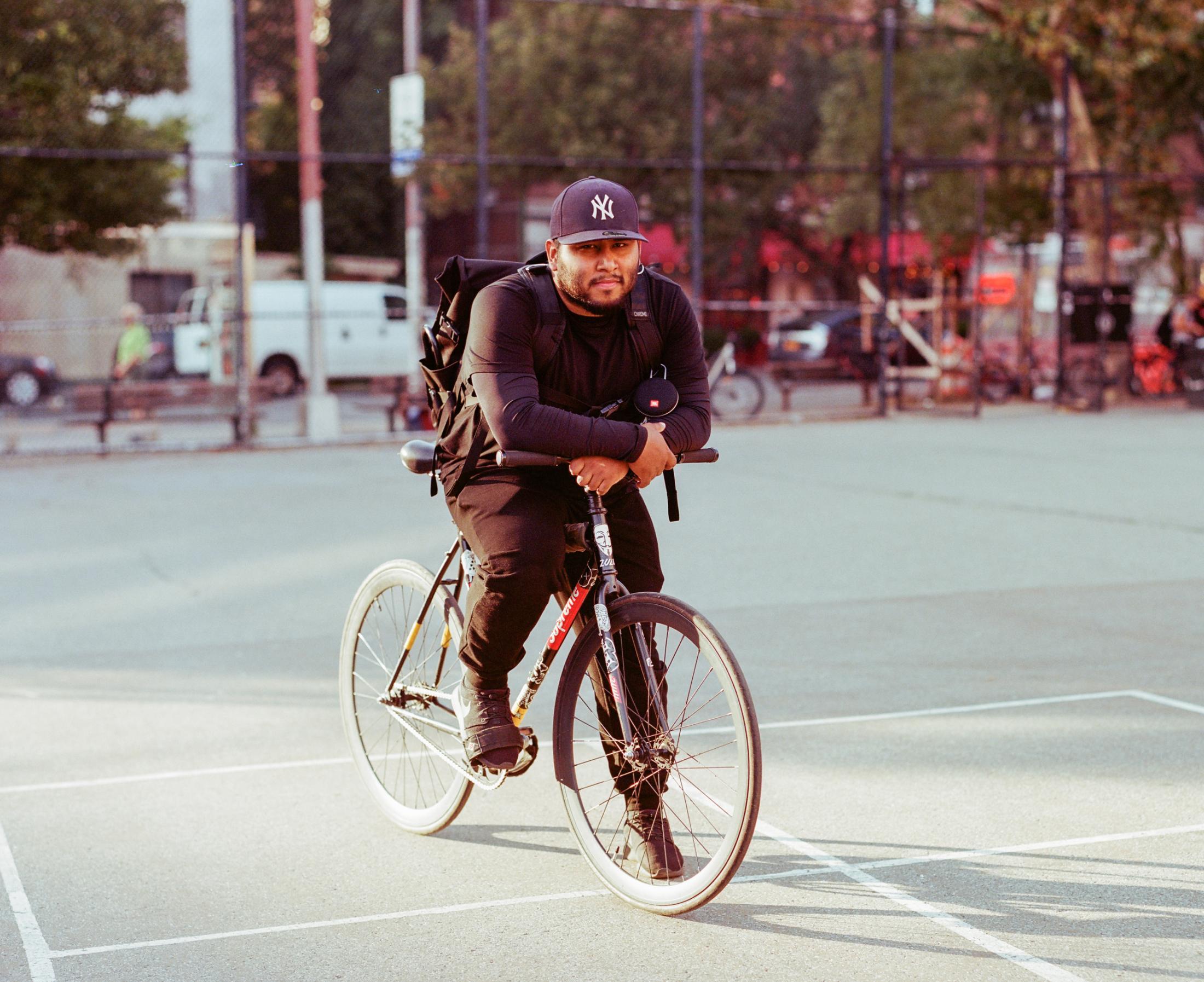 Jay (Jonathan Barahona) on September 27, 2019 in NYC. Photo essay on Bike Messengers.