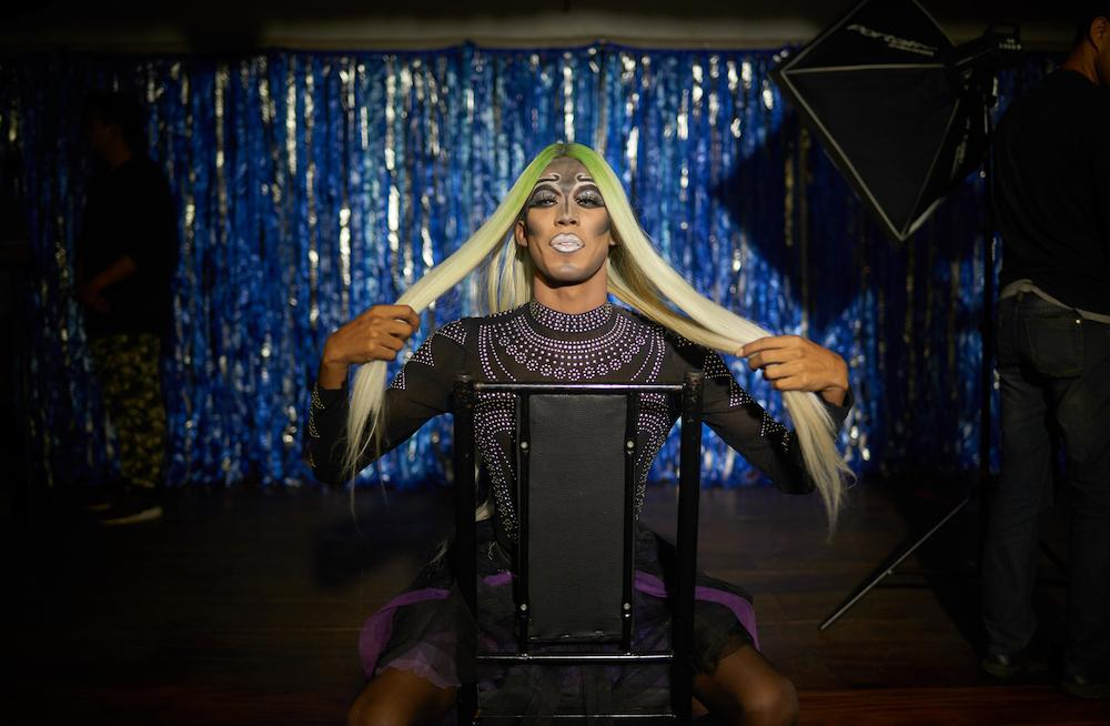 CARACAS, VENEZUELA - OCT 15, 2019 A drag performer prepares for a professional photo session in the club. This club is tucked away in a shopping center, always keeping the front door locked to avoid harassment and unwanted conflict. CREDIT: Lexi Parra