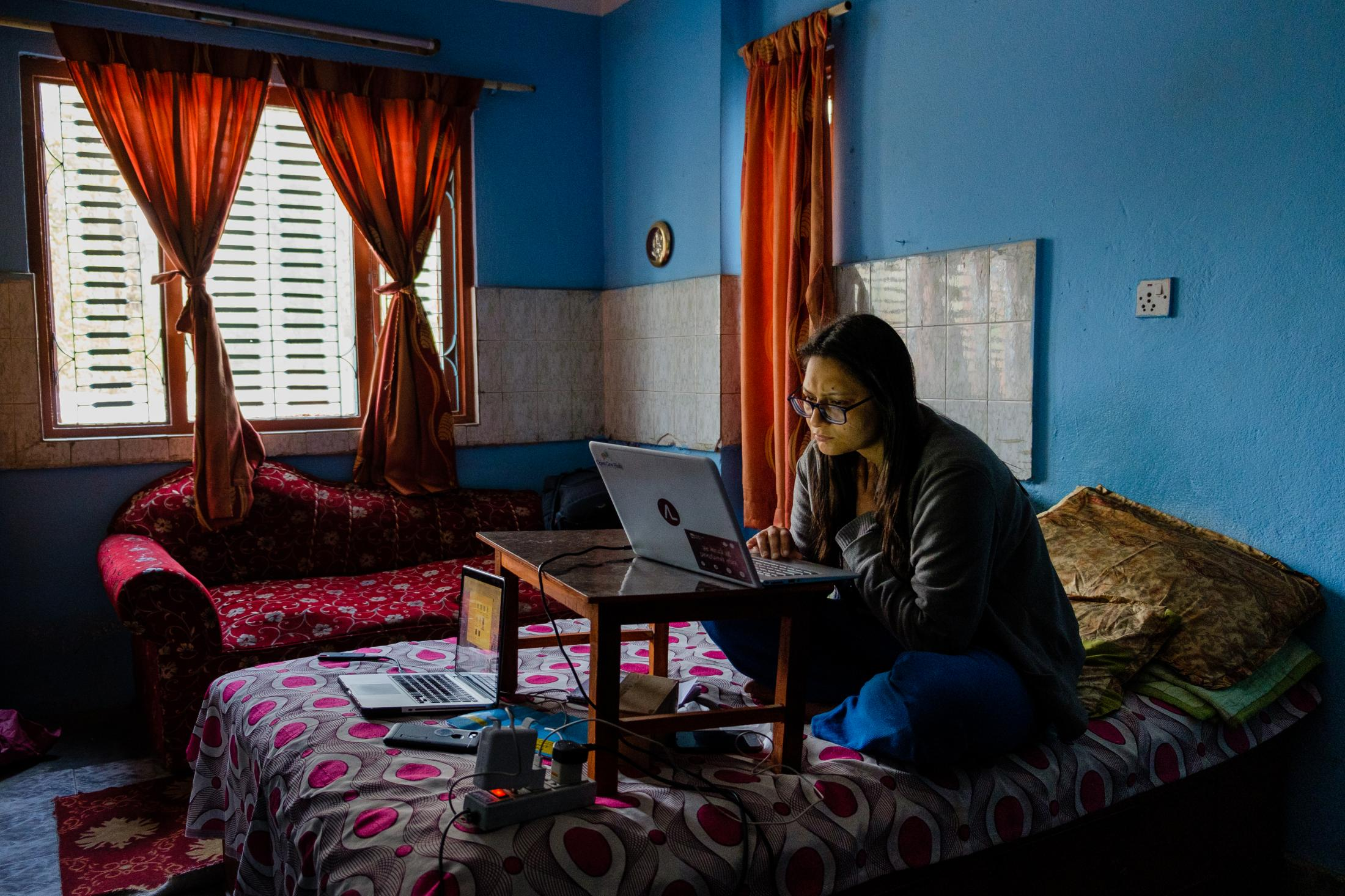 Ashmita Sharma, Program Officer for Integrity Icon at Accountability Lab Nepal, works from her family's home in Kathmandu after receiving direction from the Accountability Lab Global team. This direction came 4 days before the government mandated stay at home order due to COVID19.