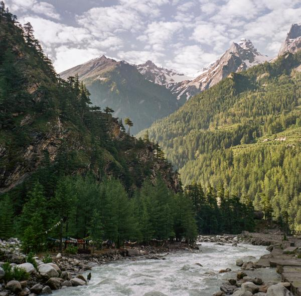 """A view of the Ganges near the source in Harsil, Uttarakhand on June 27, 2019. Taken on assignment for National Geographic's """"Sea to Source: Ganges"""" expedition. Through the expedition, the international, all-female team of scientists are working with National Geographic and international partners to scientifically document plastic waste in the Ganges watershed and support holistic and inclusive solutions."""