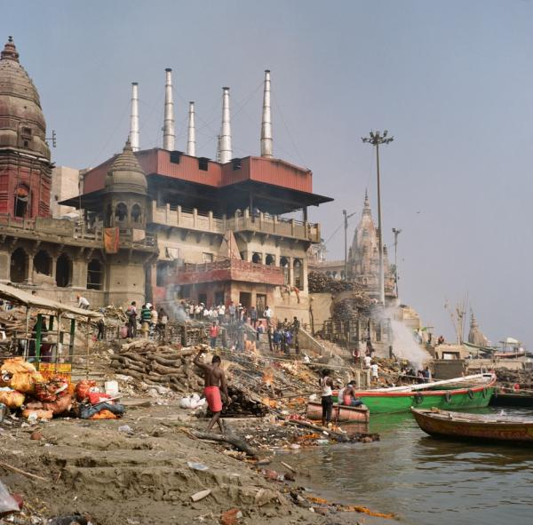 A view of the ghats along the Ganges river in Varanasi, Uttar Pradesh.