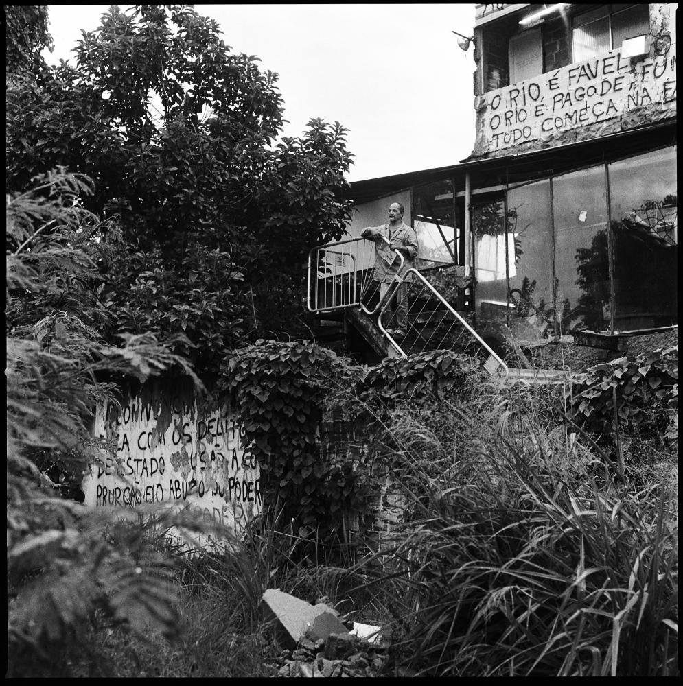 Delmo Oliveira, 55 outside his house, the last original construction of Vila Autodromo a favela that was mostly destroyed and its residents relocated to different locations in Rio de Janeiro for the construction of the nearby olympic park.