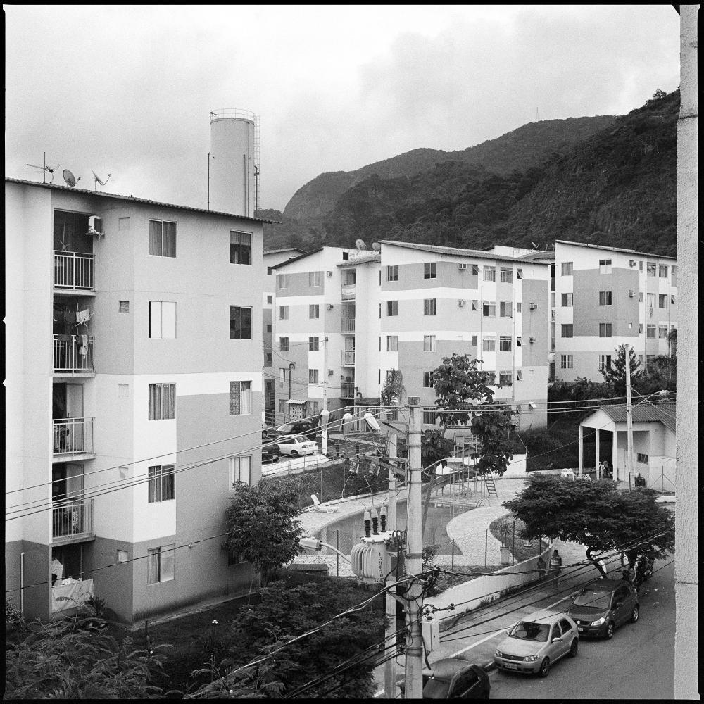 The landscape from Parque Carioca. A public housing complex where most residents from Vila Autodromo were relocated which is now mostly controled by paramilitary forces in Rio de Janeiro.