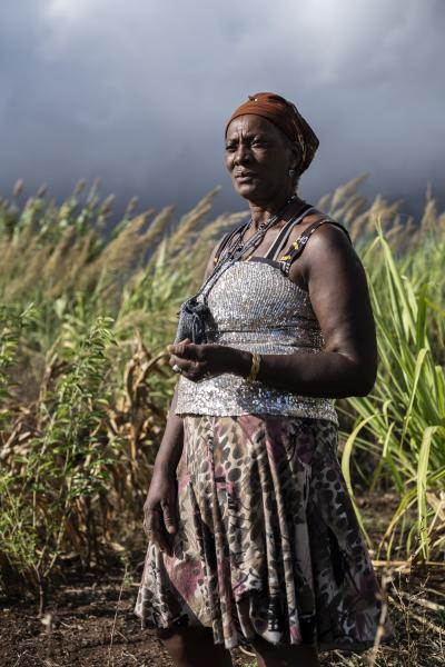 Vitalina Varela, 60 a Cape Verdian citizen resident in Cova da Moura, Amadora Portugal and the leading actress of a movie with her name directed by Portuguese director Pedro Costa. In the photograph she is in her vegetable garden in the Amadora district.