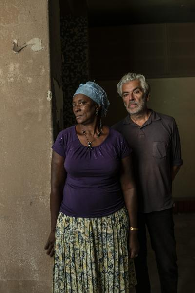 Vitalina Varela, 60 a Cape Verdian citizen resident in Cova da Moura, Amadora Portugal and the leading actress of a movie with her name directed by Portuguese director Pedro Costa on her back in the photograph.