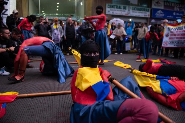 Performers protesting during the March for the lives of social and environmental leaders. Bogota, Colombia - July 27, 2019.