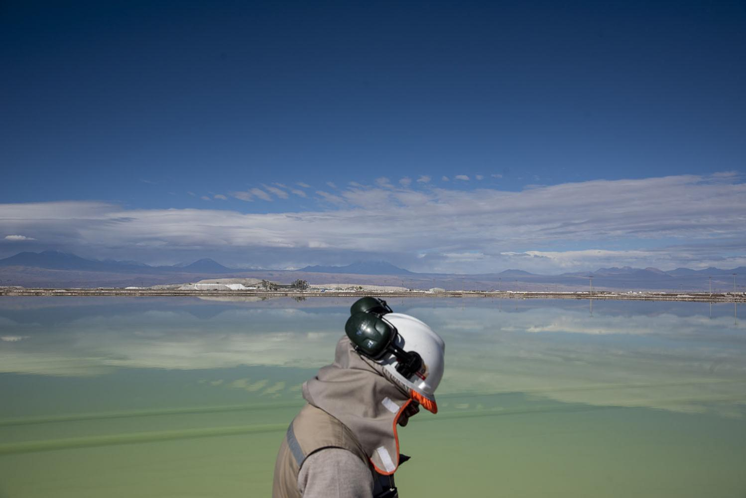 Pool of brine in Atacama desert Sociedad Química Minera Plant. There are dozens of pools containing different stages of brine and lithium at this plant, depending at the stage they are the color may vary. Atacama Region. May 29th, 2019.