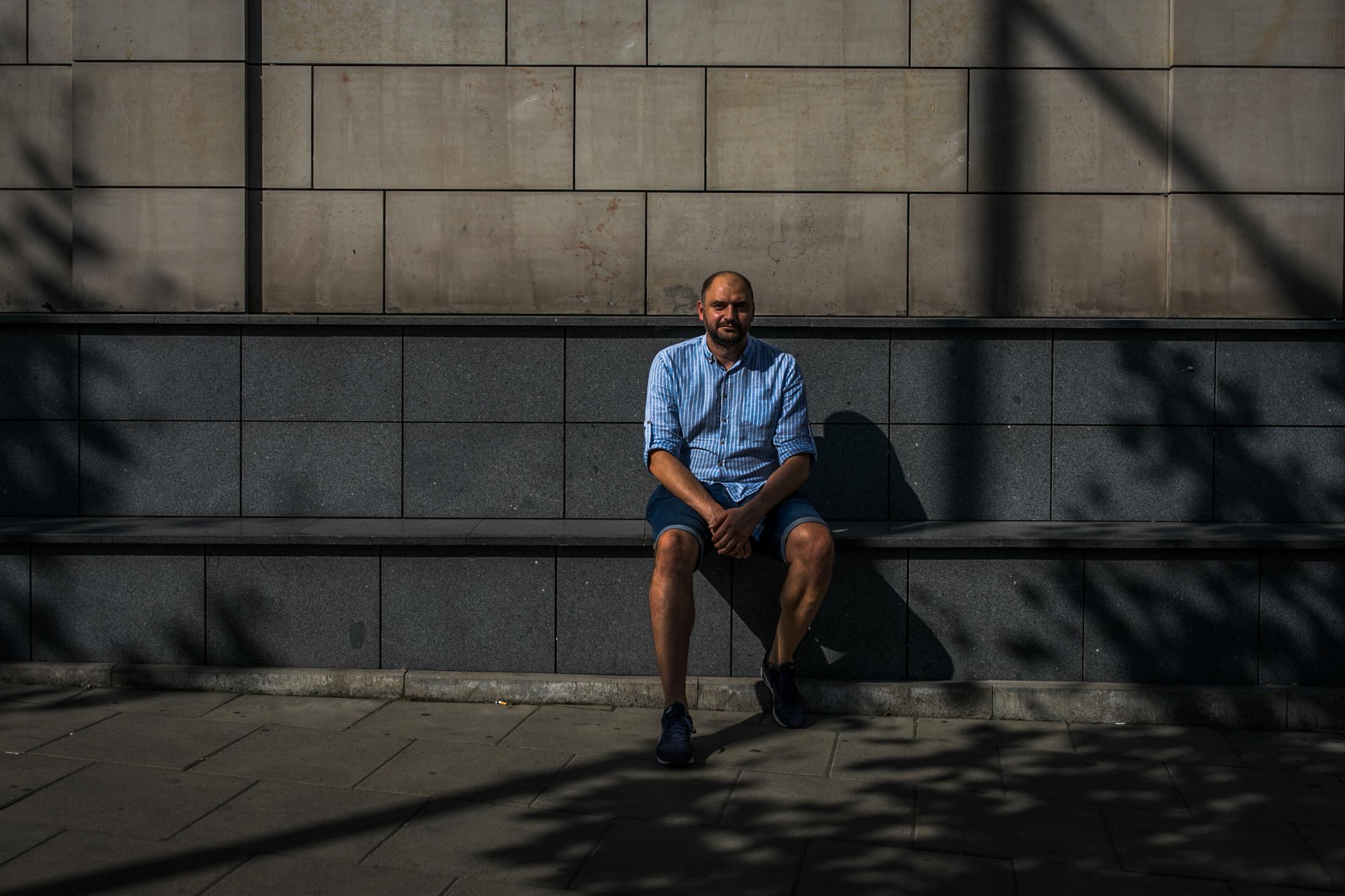 Aliaksandr Atroshchankau, a former Zubr activist who estimates he was arrested 50 times before he left Belarus. Warsaw, Poland.