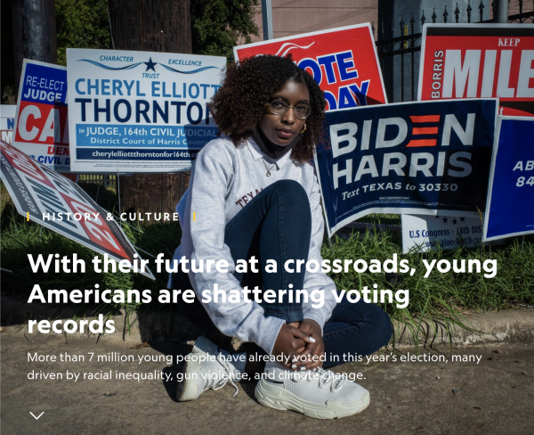 On National Geographic: With their future at a crossroads, young Americans are shattering voting records