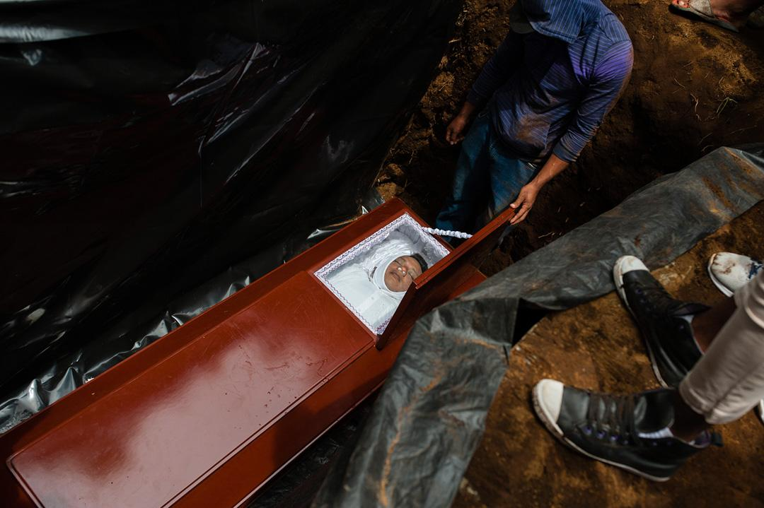 Jose Esteban Sevilla Medina, who died after he was shot in the chest at a barricade during an attack by the police and paramilitary forces, is laid to rest in Masaya, Nicaragua, Monday, July 16, 2018. Tensions in Nicaragua erupted this spring after the government announced cuts to social security but then widened into a call for President Daniel Ortega to leave power. The crisis has left around 270 dead and more than 2,000 wounded as forces loyal to the government crack down on opponents.