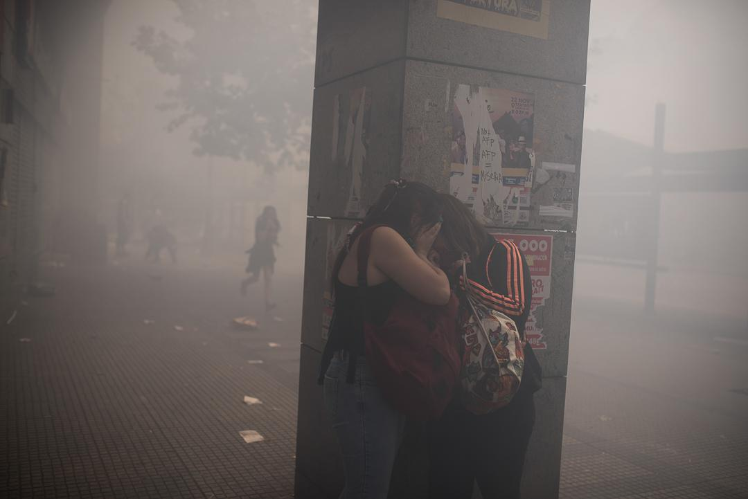 Chile, Santiago October 23, 2019. Crowded marches in different cities in Chile mark a new day of Paro Nacional, hundreds of protesters face riot police