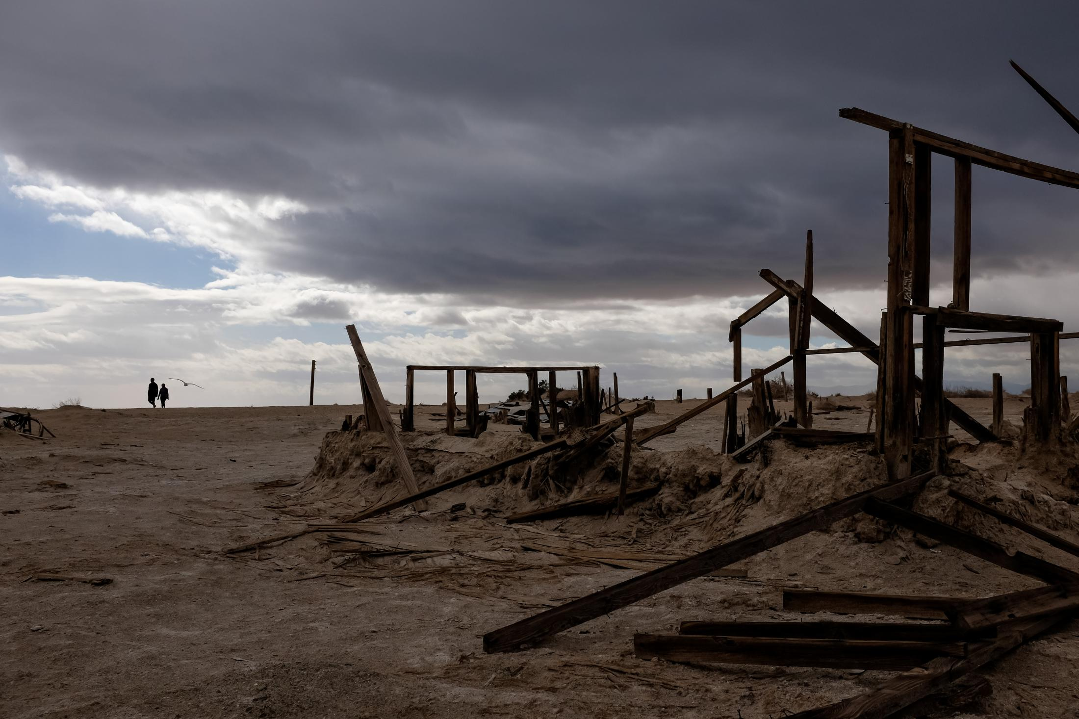 11/27/16-California - The remains of houses are left on The Salton Sea's desert beaches, once populated with summer vacation homes and resorts. It is mostly abandoned with just memories of the past.
