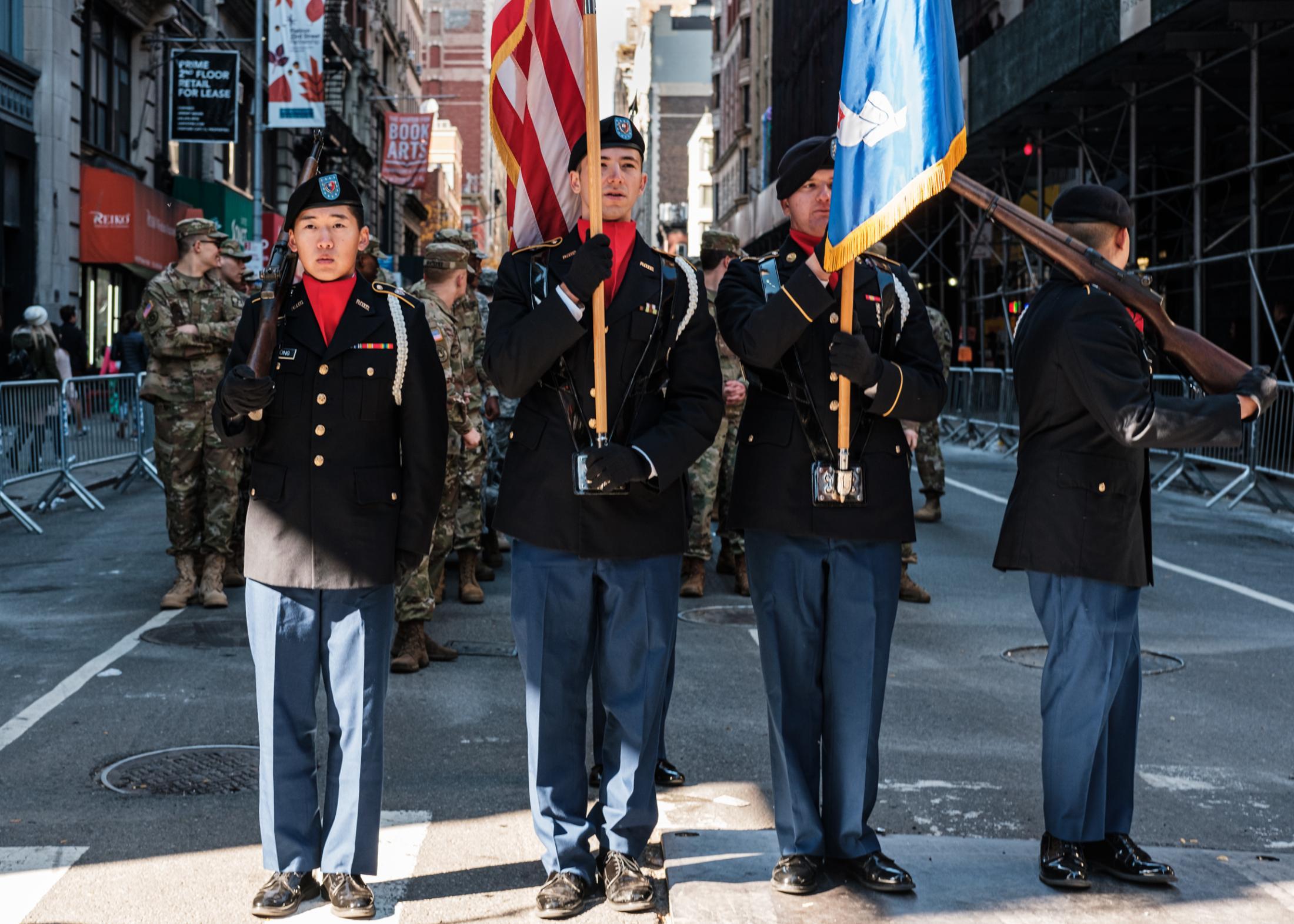 New York City, NY. November 11, 2018. Veteran's Day Parade. Army ROTC Cadets preparing to march. Credit: Andres Guerrero