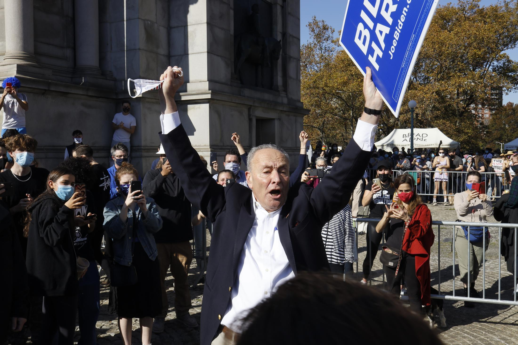Senator Minority Leader Chuck Schumer celebrating with crowds of people at Grand Army Plaza in Brooklyn, the new President elect Joe Biden and Vice President elect Kamala Harris on their win. November 7, 2020