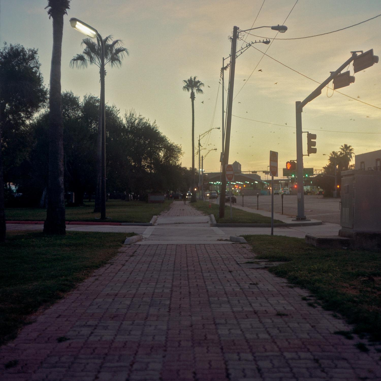 Brownsville, TX - OCTOBER 15, 2020: On International Blvd looking toward Gateway International Bridge in downtown Brownsville.