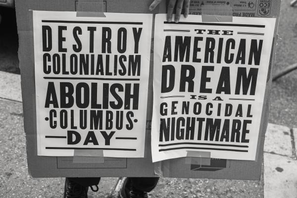 New York City, NY - October 8, 2018. Indigenous Peoples Day, 2018. 3rd Anti-Columbus Day Tour at American Museum of Natural History. Credit: Andres Guerrero