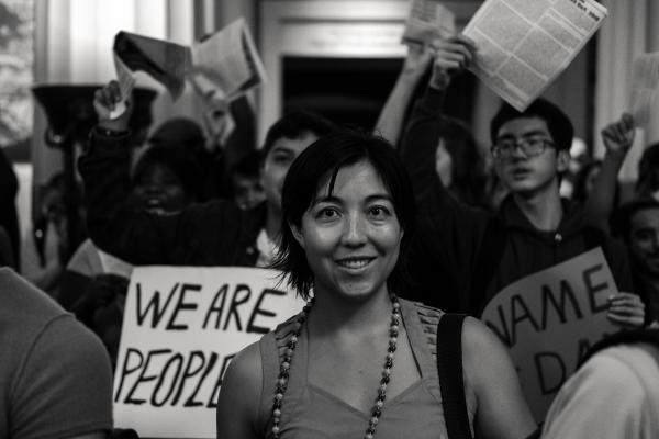 New York City, NY - October 8, 2018. Indigenous Peoples Day, 2018. 3rd Anti-Columbus Day Tour at American Museum of Natural History. Protesters, smiled and cheered during the event orientation iside of the Theodore Roosevelt Memorial Hall. Credit: Andres Guerrero