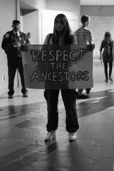 New York City, NY - October 8, 2018. Indigenous Peoples Day, 2018. 3rd Anti-Columbus Day Tour at American Museum of Natural History. Children were aslo among the antendees at the event. Credit: Andres Guerrero