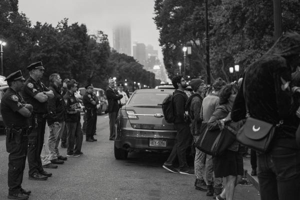 New York City, NY - October 8, 2018. Indigenous Peoples Day, 2018. 3rd Anti-Columbus Day Tour at American Museum of Natural History. NYPD facilitwades safe passage ways for everyone who attended the event. Credit: Andres Guerrero