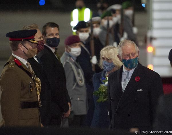 The Prince of Wales and The Duchess of Cornwall arrive in Germany to a Military Guard at Brandenburg Military Airport as part of their 2 day visit for Germany's National Day of Morning on the 15th of November.