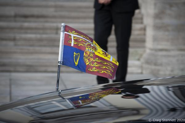The Royal Ensign on Prince Charles car at Schloss Bellevue the Residence of the President of the Federal Republic of Germany.