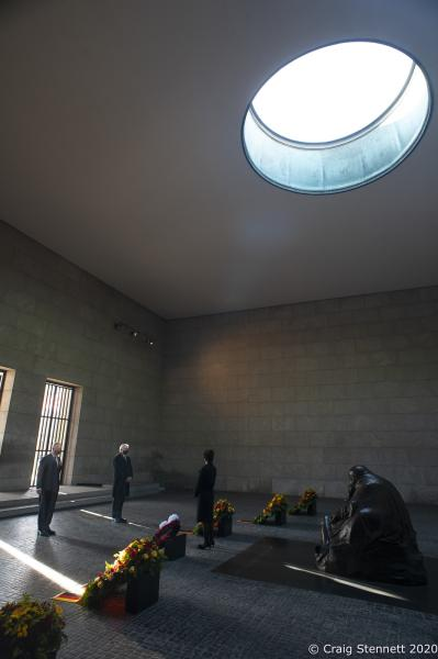Prince Charles at the Neue Wache Central Memorial in Berlin for Germany's Day of Mourning. Accompanied President üf The Federal Republic of Germany His Excellency Frank-Walter Steinmeier,